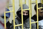 Обвиняемые Максим Кириллов, Александр Ковтун и Алексей Никитин