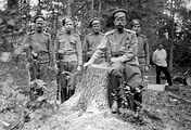 Николай II с охраной, 1917 год