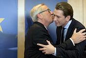 Председатель Еврокомиссии Жан-Клод Юнкер и министр иностранных дел Австрии Себастьян Курц