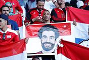 Египетские болельщики с портретом Мохаммеда Салаха