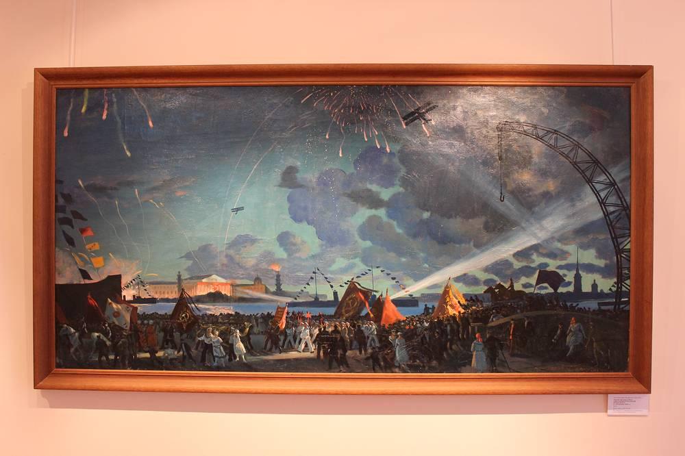 """""""Ночной праздник на Неве"""" (""""Празднование II Конгресса III Интернационала в Петрограде 1920 год""""). Борис Кустодиев. Холст, масло, 1923 год"""