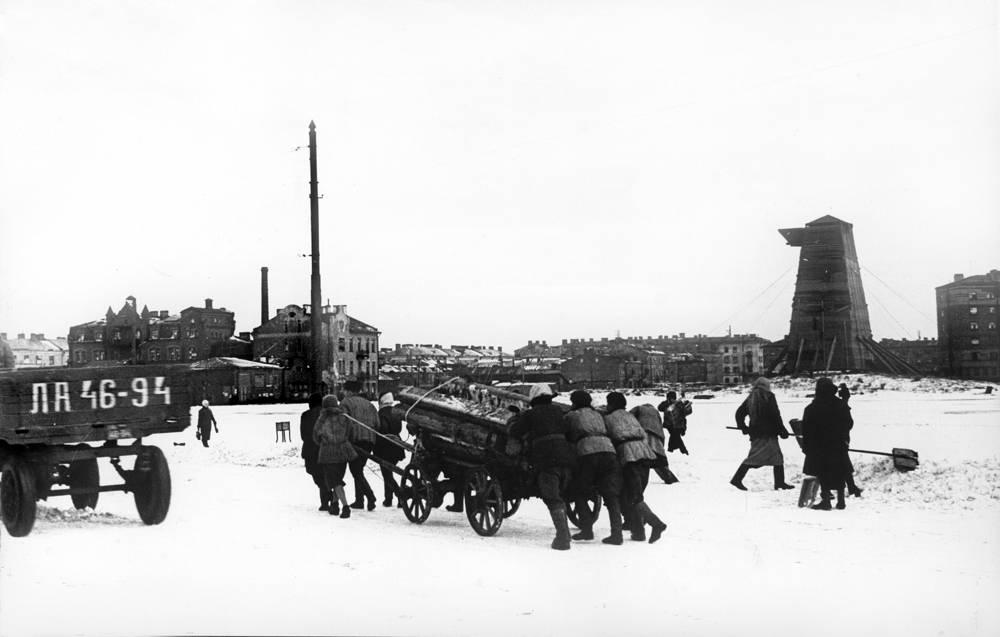 Подвоз дров к василеостровской ТЭЦ.