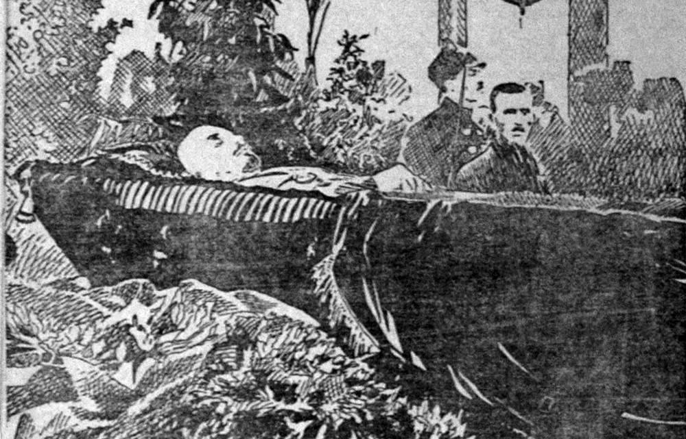 """Гроб с телом Владимира Ленина во время гражданской панихиды, рисунок из газеты """"Правда"""", 30 января 1924"""
