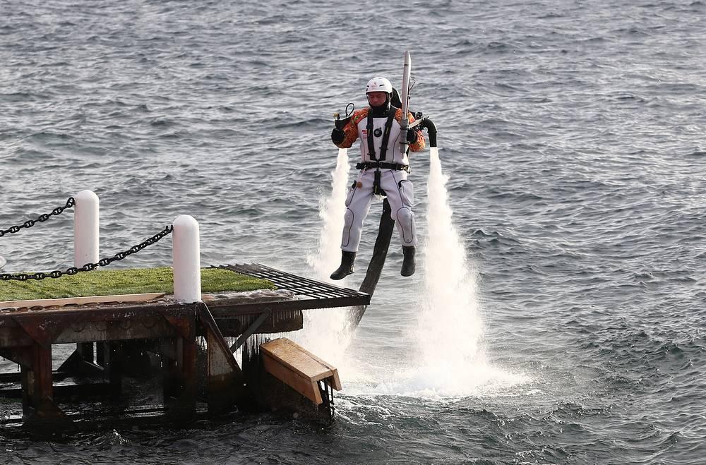 Этап эстафеты олимпийского огня на озере Байкал, 23 ноября 2013 г.