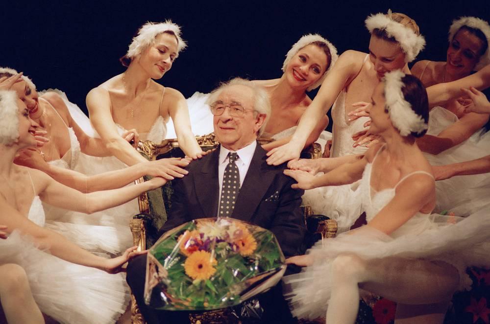 Евгений Лебедев  на юбилейном вечере, посвященном его 80-летию, 1997 г.