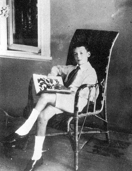 Владимир Набоков читает книгу о бабочках в семейном имении в Выре, 1907 год