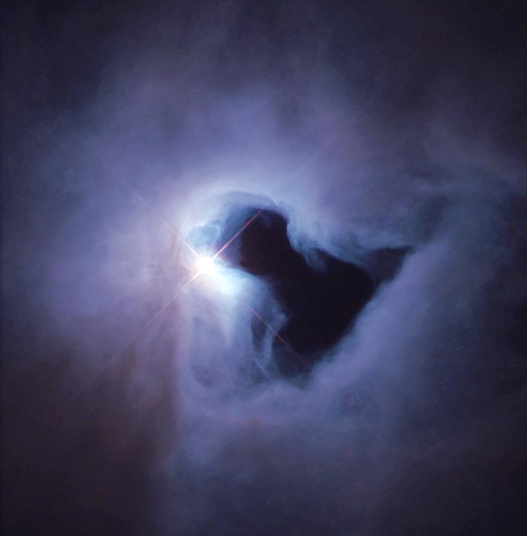Отражательная туманность NGC 1999 в созвездии Орион, освещается переменной звездой V380 Ориона