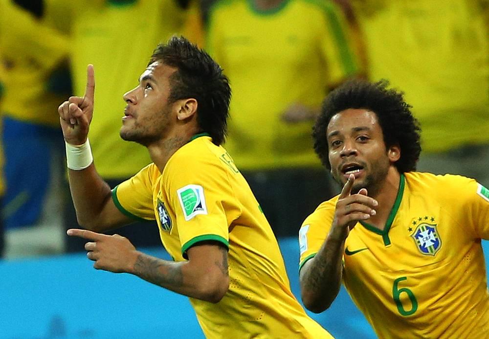 Игроки сборной Бразилии Неймар и Марсело