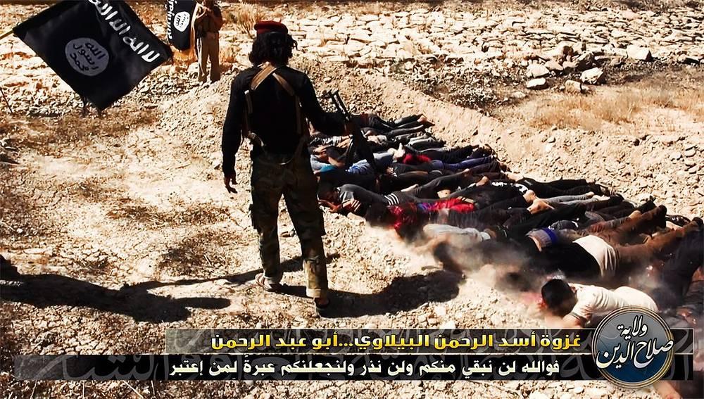 Боевики ИГИЛ расстреливают захваченных в плен военных, провинция Салах-эд-Дин, 15 июня