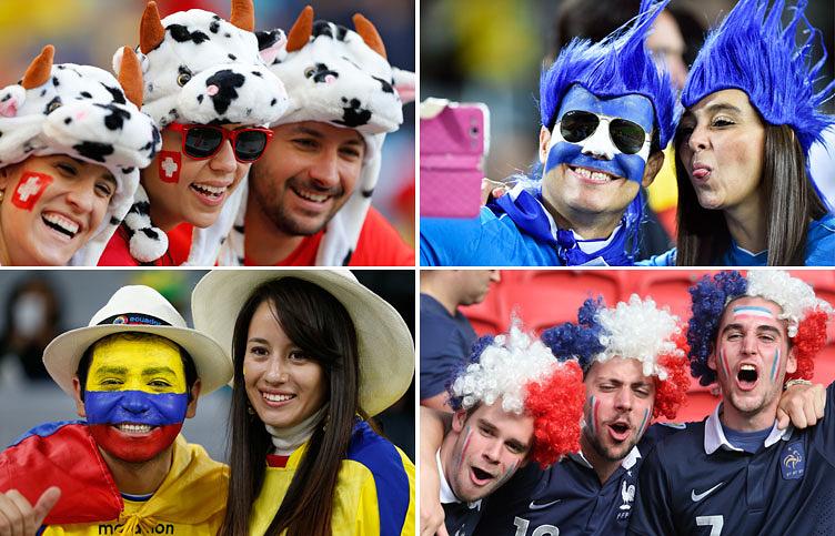 Болельщики из Швейцарии, Гондураса, Эквадора и Франции