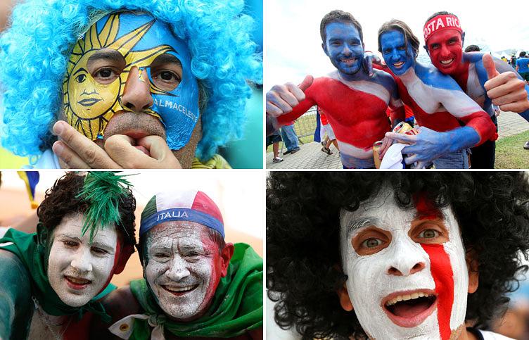 Болельщики из Уругвая, Коста-Рики, Италии и Англии