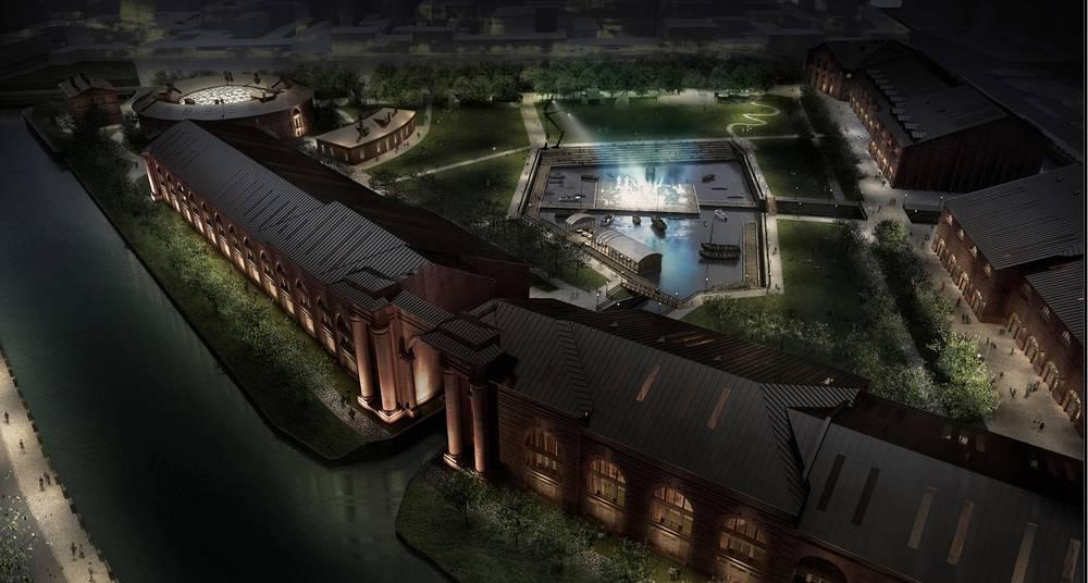 Ночной  вид. Планируется, что комплекс Новая Голландия будет работать круглосуточно и без выходных