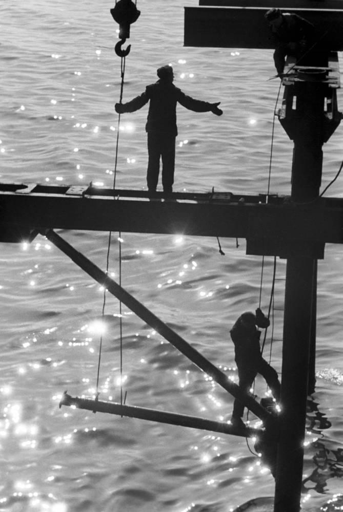 Горький. Строительство моста через Оку, 1961 год