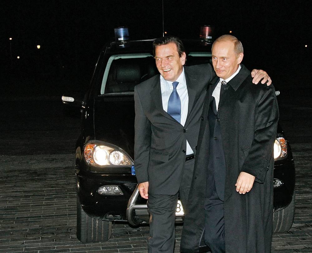 Владимир Путин и канцлер ФРГ Герхард Шрёдер, 2005 год