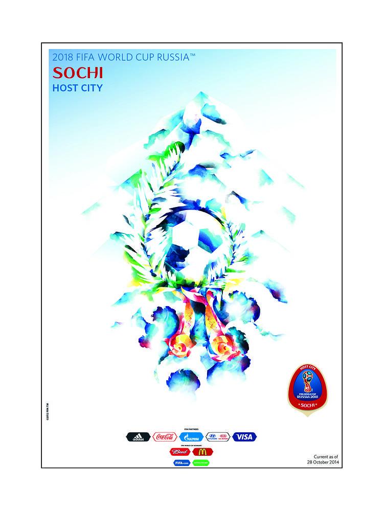 Сочи. Плакат Сочи передает уникальный климат и расположение курорта. Футбольный мяч, обвитый пальмовыми листьями, символизирует любовь к игре и гостеприимство жителей Сочи