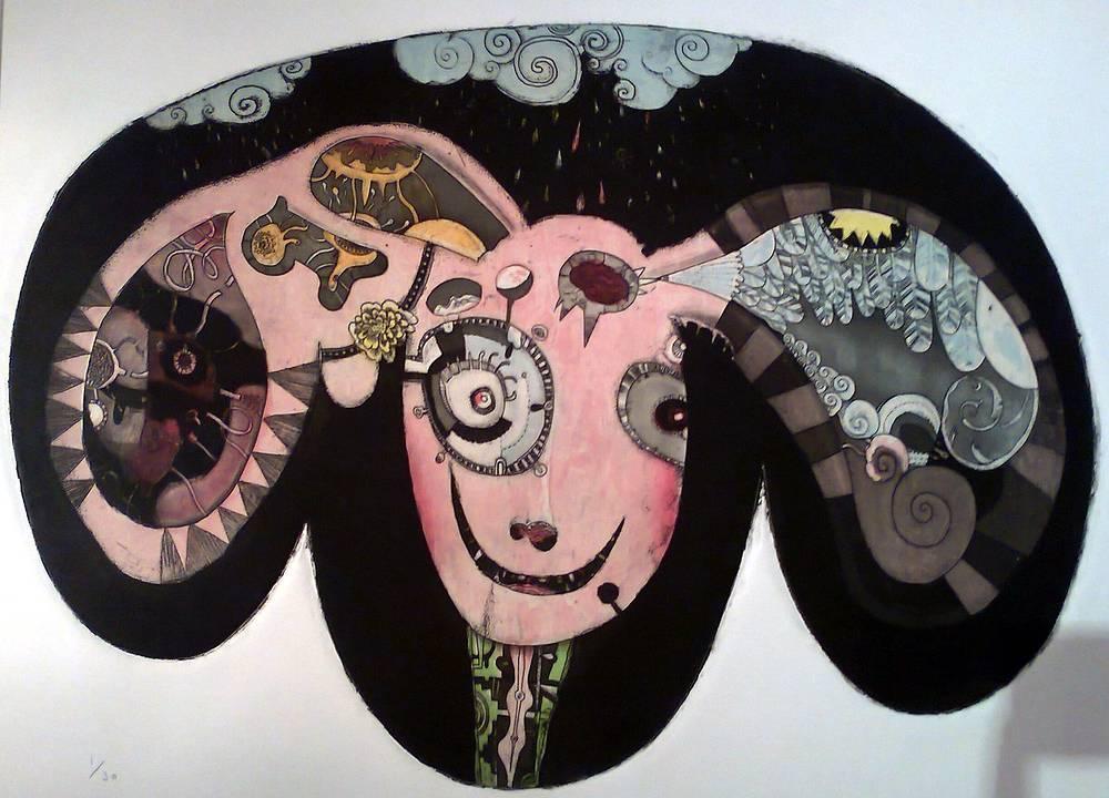 """Картина Норимаса Мидзутани """"Предостережение Алисы"""". Экспонат выставки """"Пришельцы"""""""