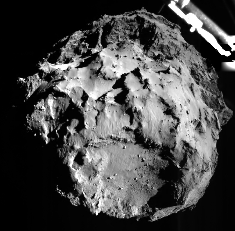 Изображение кометы, сделанное модулем Philae 12 ноября 2014 года на расстоянии около 3 км от поверхности в масштабе примерно 3 м на пиксель