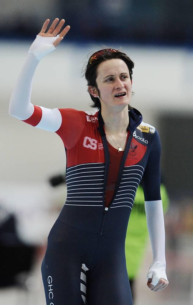 Чешская конькобежка Мартина Сабликова, занявшая первое место на дистанции 5000 метров