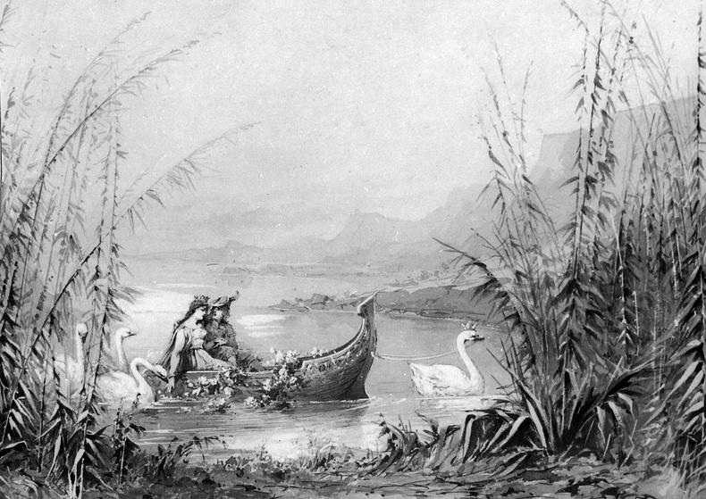 """Декорация к балету """"Лебединое озеро"""", 1895 год"""