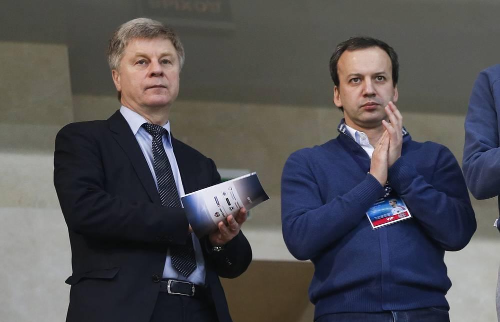 Президент РФС Николай Толстых и вице-премьер РФ Аркадий Дворкович на матче Кубка Легенд