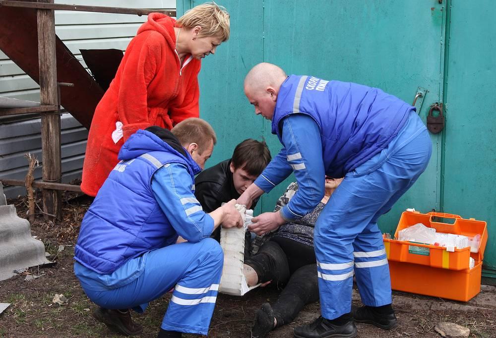 Оказание медицинской помощи пострадавшей в результате пожара на складе магазина пиротехники