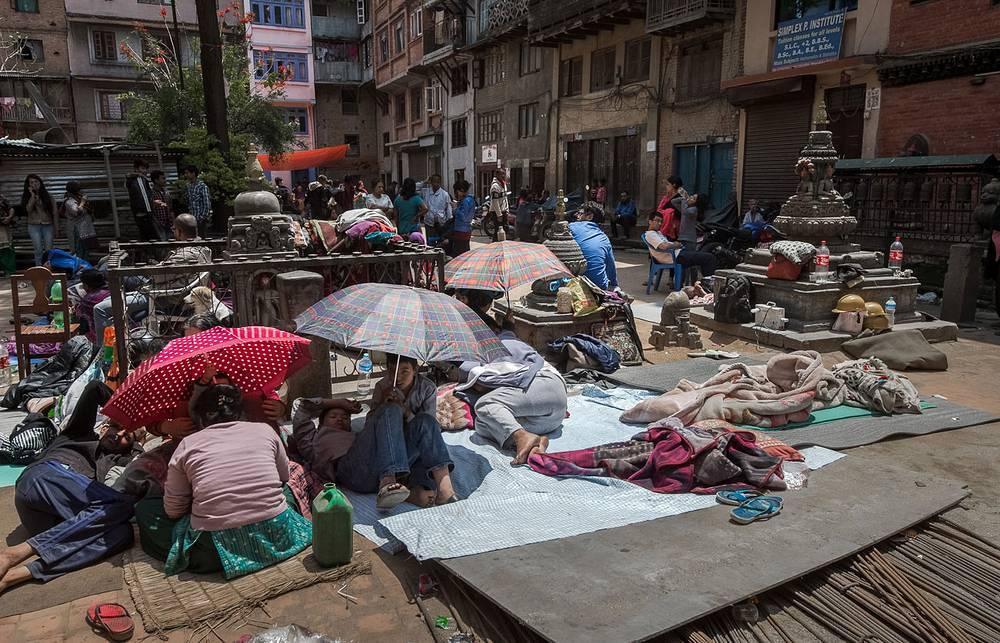 Импровизированный лагерь в исторической части Катманду