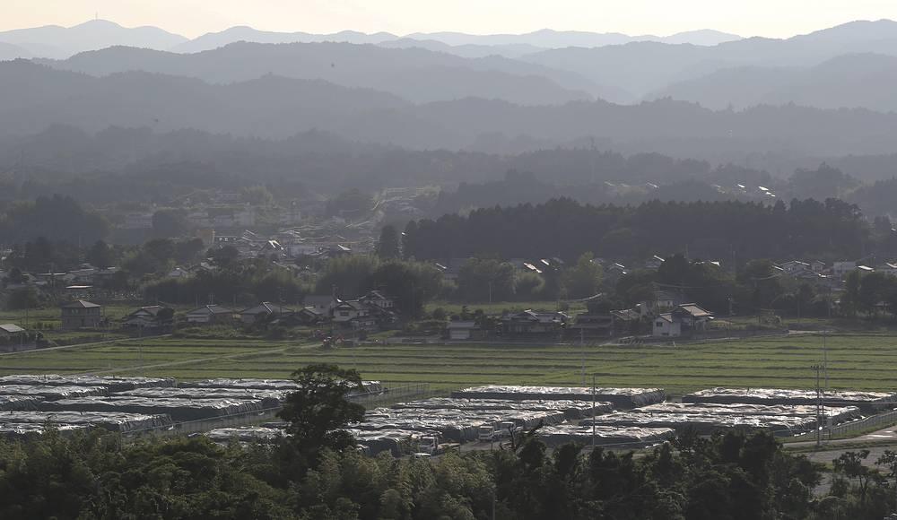 Нараха стал первым из семи муниципалитетов префектуры Фукусима, где отменен режим полной эвакуации. На фото: загрязненная почва, растения и другой мусор, собранный на территории города и упакованный в специальные мешки