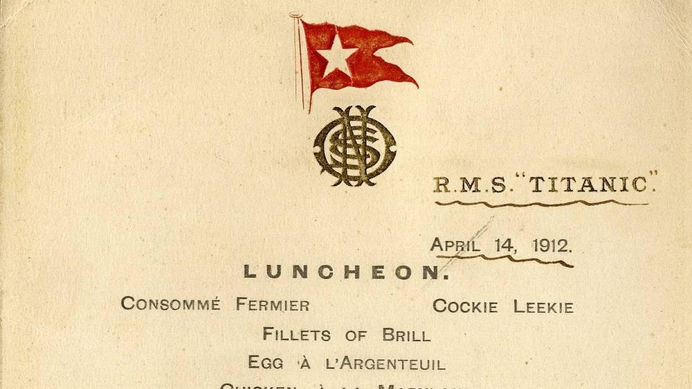 """Меню ресторана для пассажиров первого класса """"Титаника"""""""