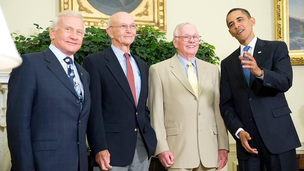 Олдрин, Коллинз, Армстронг и Барак Обама, 20 июля 2009 года
