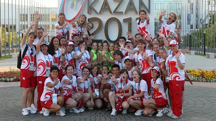 Волонтеры в деревне XXVII Всемирной летней Универсиады