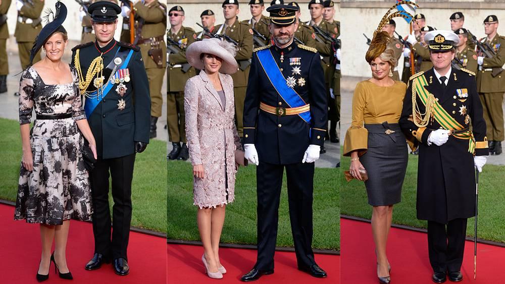 Слева направо: Принц Эдвард, граф Уэссекса, с супругой; испанский принц Фелипе с супругой; принц и принцесса Нидерландов