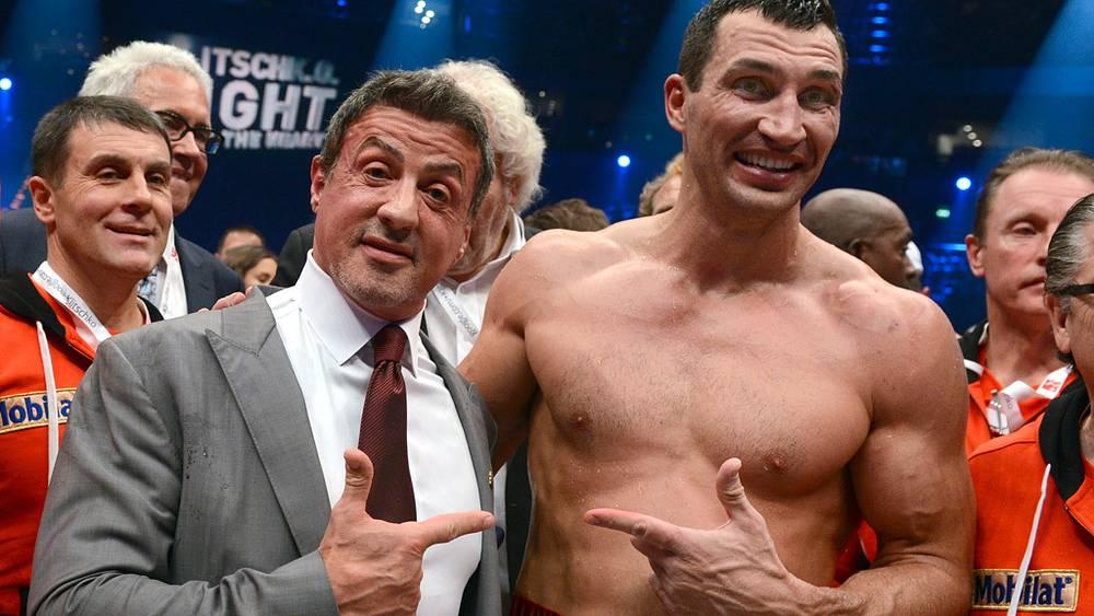 Владимир Кличко и Сильвестр Сталлоне после боя