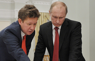 Alexei Miller (left) and Vladimir Putin