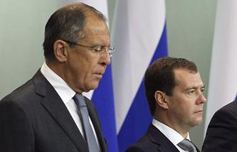 Сергей Лавров и Дмитрий Медведев