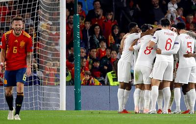 Сборная Англии победила испанцев в матче Лиги наций