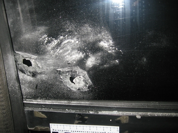 Обстрелянный автобус