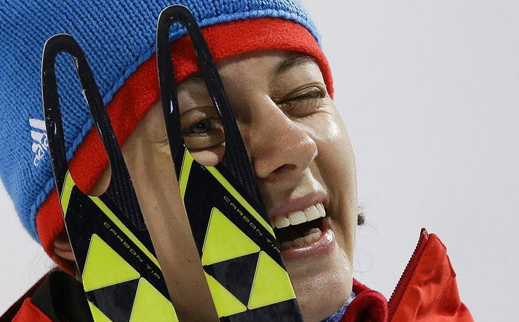 Российская биатлонистка Ольга Вилухина после завершения спринтерской гонки