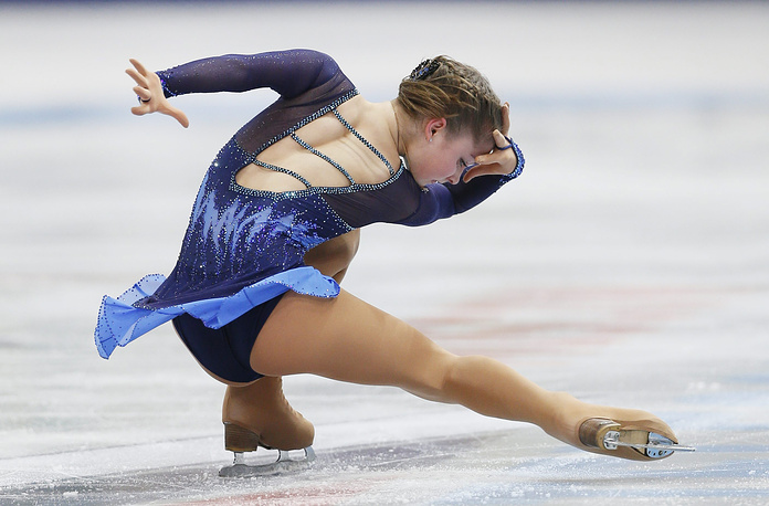 Екатеринбургская фигуристка Юлия Липницкая на этапе Гран-при по фигурному катанию в Москве в 2013 году