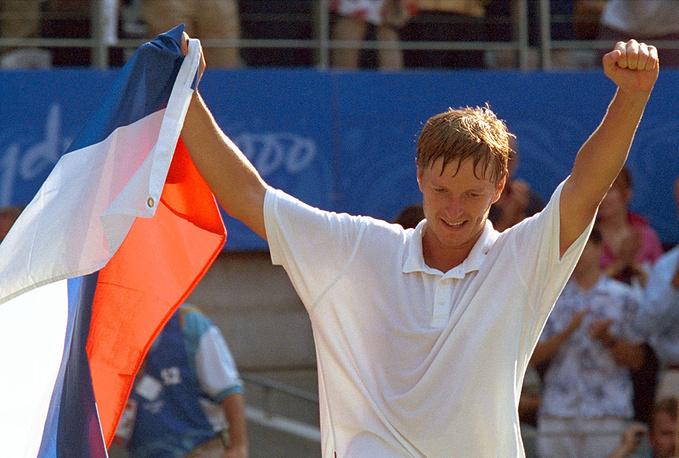 Евгений Кафельников стал первым в истории нашей страны олимпийским чемпионом в теннисном турнире. Сидней, 2000 год