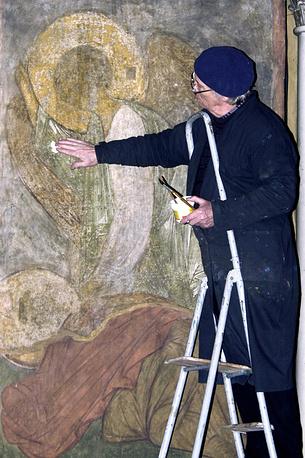 Консервация фрески Андрея Рублева в Успенском соборе