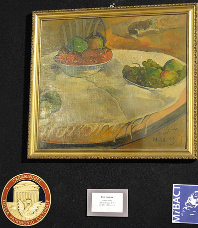 """Картина """"Фрукты на столе, или Природа с маленькой собакой"""" художника Поля Гогена"""