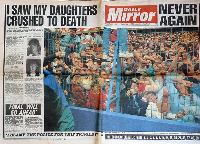 На шестой минуте матч был остановлен. Полиция приняла поведение фанатов, пытающихся выбраться из давки, за попытку прорваться на поле. На фото: изображение газеты Daily Mirror от 17 апреля 1989 года