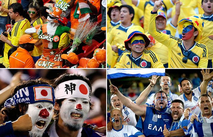 Болельщики из Кот-д'Ивуара, Колумбии, Японии и Греции