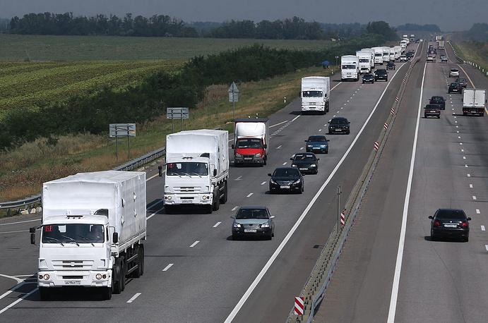 В четверг, 14 августа, автоколонна с гуманитарной помощью для жителей юго-востока Украины продолжила движение по российской территории
