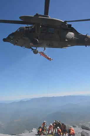Спасательные работы в районе извержения вулкана
