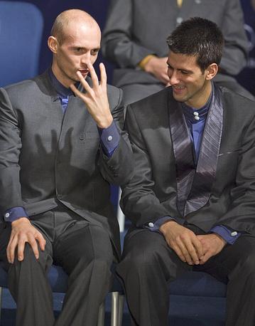 """Давыденко и Новак Джокович во время турнира в Шанхае серии """"Мастерс"""", 2007 год"""