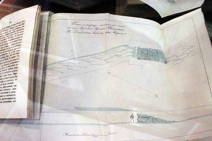 Чертеж штуфа шахты Меднорудянского месторождения, где в 1835 году была обнаружена малахитовая глыба весом 3 тысячи пудов
