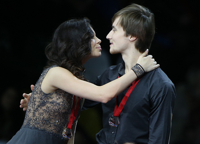 Серебряные призеры этапа Гран-при в Москве Елена Ильиных и Руслан Жиганшин