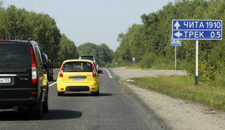 """Автомобиль """"Лада Калина"""", на котором председатель правительства РФ Владимир Путин проехал по новой трассе Чита - Хабаровск, 27 августа 2010 года"""