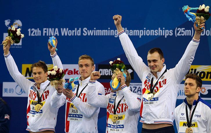 Единственное золото мирового первенства сборная России в эстафете 4х50 м вольным стилем